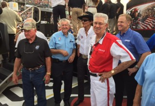 NASCAR Hall of Famers from left to right - Cale Yarborough, Bobby Allison, Richard Petty, Leonard Wood and Rusty Wallace. Photo by Dustin Long