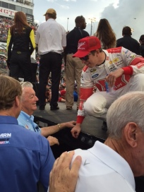 Brad Keselowski, right, chats with NASCAR Hall of Famer Bobby Allison prior to the Southern 500. Keselowskis No. 2 Ford was painted like a car driven by Allison in the 1980s. Photo