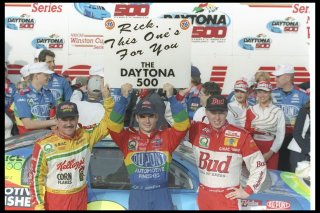 16 Feb 1997: The three drivers of Hendrick Motorsports, Jeff Gordon (center), Terry Labonte (left), and Ricky Craven celebrate after finishing 1-2-3 in the NASCAR Daytona 500 at Daytona International Speedway in Daytona Beach, Florida. Mandatory Credit: