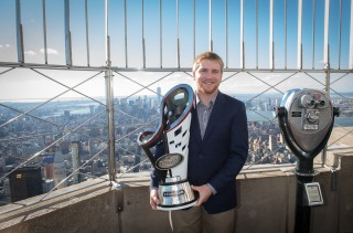 2015 NASCAR XFINITY series champion Chris Buescher visit the Empire State Building, Tuesday, Dec. 15, 2015. Buescher will move up to the NASCAR Sprint Cup Series to drive for Front Row Motorsports in 2016, Roush Fenway Racing announced last week.