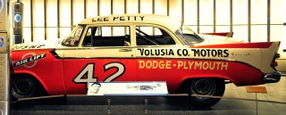CHARLOTTE, NC - MAY 24: The #42 Plymouth belonging to NASCAR Hall of Fame member Lee Petty is displayed, during the Hall of Honor unveiling at the NASCAR Hall of Fame on May 24, 2011 in Charlotte, North Carolina. (Photo by Jason Smith/ Getty Images for NASCAR)
