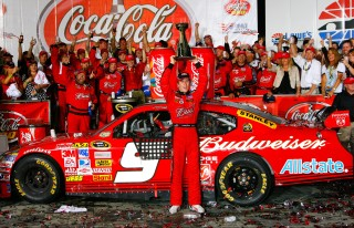 CONCORD, NC - MAY 25: Kasey Kahne, driver of the #9 Budweiser Dodge, celebrates in victory lane after winning the NASCAR Sprint Cup Series Coca-Cola 600 on May 25, 2008 at Lowe's Motor Speedway in Concord, North Carolina. (Photo by John Harrelson/Getty Images for NASCAR)