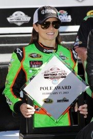 DAYTONA BEACH, FL - FEBRUARY 17: Danica Patrick, driver of the #10 GoDaddy.com Chevrolet, poses after winning the pole award for the NASCAR Sprint Cup Series Daytona 500 at Daytona International Speedway on February 17, 2013 in Daytona Beach, Florida. (Photo by Jerry Markland/Getty Images)