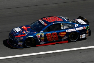 CHARLOTTE, NC - MAY 24: Dale Earnhardt Jr., driver of the #88 National Guard/Superman Chevrolet, practices for the NASCAR Sprint Cup Series Coca-Cola 600 at Charlotte Motor Speedway on May 24, 2014 in Charlotte, North Carolina. (Photo by Matt Sullivan/Getty Images)