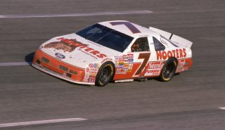 1993: Alan Kulwicki, driver of the #7 Hooters Ford Thunderbird competes during a race in 1993. (Photo by Bill Hall/Getty Images)
