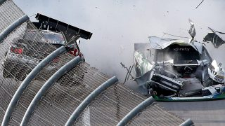 TALLADEGA, AL - APRIL 30: Joey Logano, driver of the #22 Discount Tire Ford, and Blake Koch, driver of the #11 LeafFilter Gutter Protection Chevrolet, have an on track incident on the last lap of the NASCAR XFINITY Series Sparks Energy 300 at Talladega Superspeedway on April 30, 2016 in Talladega, Alabama. (Photo by Sean Gardner/Getty Images)