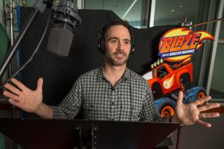 NASCAR driver Jimmie Johnson records his guest appearance on Nickelodeon's Blaze and the Monster Machines. Photo: Bob Leverone/Nickelodeon 2015 Viacom International Inc.