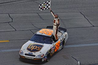 10/02/05 Talladega. Dale Jarrett snapped a 98-race winless stretch with his win in the Ford UAW 500. Photo Credit: autostock