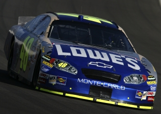 FONTANA, CA - SEPTEMBER 4: Jimmie Johnson driving the #48 Lowes Chevrolet during practice for the NASCAR Nextel Cup Series Pop Secret 500 on September 4, 2004 at California Speedway in Fontana, California. (Photo by Gavin Lawrence/Getty Images).