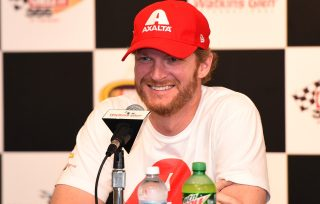 WATKINS GLEN, NY - AUGUST 05: Dale Earnhardt Jr., driver of the #88 Hendrick Motorsports Chevrolet, speaks to the media before practice for the NASCAR Sprint Cup Series Cheez-It 355 at Watkins Glen International on August 5, 2016 in Watkins Glen, New York. (Photo by Josh Hedges/Getty Images)