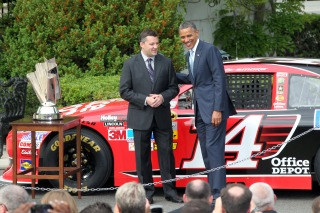 WASHINGTON, DC - APRIL 17: U.S. President Barack Obama and Nascar Sprint Cup Series Champion Tony Stewart have a conversation during a visit by the 2011 Chase for the NASCAR Sprint Cup drivers to the White House on April 17, 2012 in Washington, DC. President Obama hosted the 2011 NASCAR Sprint Cup Series Champion Tony Stewart to honor his championship season. (Photo by Ned Dishman/Getty Images for NASCAR)