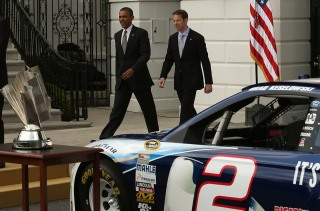 WASHINGTON, DC - APRIL 16: U.S. President Barack Obama (L) walks with Brad Keselowski, driver of Penske Racing #2 Miller Lite Ford Fusion, on the driveway at the White House April 16, 2013 in Washington, DC. President Obama is hosted an event to honor the 2012 NASCAR Sprint Cup Series Champion. (Photo by Mark Wilson/Getty Images)