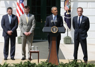 WASHINGTON, DC - APRIL 21: US President Barack Obama (2nd-R) speaks while flanked by NASCAR Champion driver Kevin Harvick (R) Crew Chief Rodney Childers (2nd-L) and owner Tony Stewart (L) during an event to honor the reigning NASCAR Sprint Cup Series champion on the south lawn of the White House April 21, 2015 in Washington, DC. Harvick drives the No. 4 Chevrolet for Stewart-Hass Racing in NASCARs Sprint Cup series. (Photo by Mark Wilson/Getty Images)