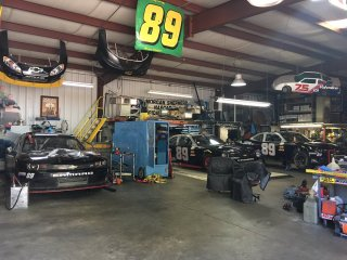 Morgan Shepherd works out of this garage, which sits across from his house in Conover, N.C.