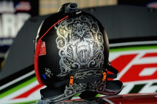 RIDGEWAY, VA - APRIL 06: The helmet of Dale Earnhardt Jr., driver of the #88 Diet Mountain Dew Chevrolet, sits on top of his car in the garage area during practice for the NASCAR Sprint Cup Series STP Gas Booster 500 on April 6, 2013 at Martinsville Speedway in Ridgeway, Virginia. (Photo by John Harrelson/Getty Images)