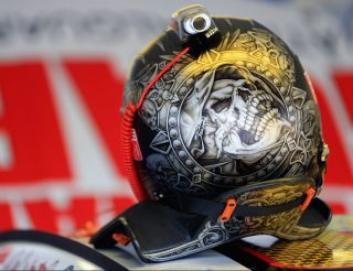 LONG POND, PA - JUNE 06: A detailed view of the helmet of Dale Earnhardt Jr., driver of the #88 National Guard Chevrolet, during practice for the NASCAR Sprint Cup Series Pocono 400 at Pocono Raceway on June 6, 2014 in Long Pond, Pennsylvania. (Photo by Daniel Shirey/Getty Images)