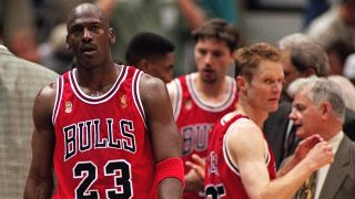 11 Jun 1997: Michael Jordan #23 of the Chicago Bulls walks on the court during game five of the NBA Finals against the Utah Jazz at the Delta Center in Salt Lake City, Utah. The Bulls defeated the Jazz 90-88. Mandatory Credit: Brian Bahr /Allsport