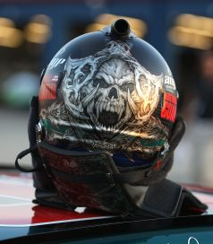 JOLIET, IL - JULY 09: A general view of the helmet of Dale Earnhardt Jr., driver of the #88 AMP Energy/National Guard Chevrolet, during qualifying for the NASCAR Sprint Cup Series LifeLock.com 400 at Chicagoland Speedway on July 9, 2009 in Joliet, Illinois. (Photo by Jonathan Daniel/Getty Images)