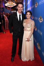 LAS VEGAS, NV - DECEMBER 02: NASCAR Sprint Cup Series driver Joey Logano and his wife Brittany attend the 2016 NASCAR Sprint Cup Series Awards at Wynn Las Vegas on December 2, 2016 in Las Vegas, Nevada. (Photo by Ethan Miller/Getty Images)
