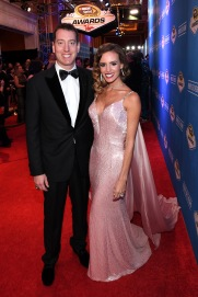 Kyle Busch and his wife Samantha. (Photo by Ethan Miller/Getty Images)