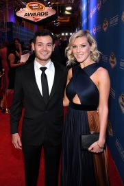 LAS VEGAS, NV - DECEMBER 02: NASCAR Sprint Cup Series driver Kyle Larson and his girlfriend Katelynn Sweet attend the 2016 NASCAR Sprint Cup Series Awards at Wynn Las Vegas on December 2, 2016 in Las Vegas, Nevada. (Photo by Ethan Miller/Getty Images)