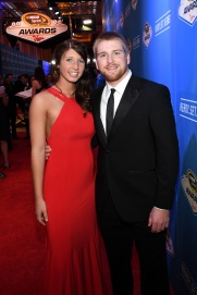 LAS VEGAS, NV - DECEMBER 02: NASCAR Sprint Cup Series driver Chris Buescher and his girlfriend Emma Helton attend the 2016 NASCAR Sprint Cup Series Awards at Wynn Las Vegas on December 2, 2016 in Las Vegas, Nevada. (Photo by Ethan Miller/Getty Images)