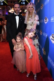 LAS VEGAS, NV - DECEMBER 02: NASCAR Sprint Cup Series Champion Jimmie Johnson, his wife Chandra and their daughters Genevieve and Lydia attend the 2016 NASCAR Sprint Cup Series Awards at Wynn Las Vegas on December 2, 2016 in Las Vegas, Nevada. (Photo by Ethan Miller/Getty Images)