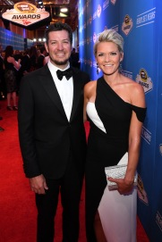 LAS VEGAS, NV - DECEMBER 02: NASCAR Sprint Cup Series driver Martin Truex Jr. and his girlfriend Sherry Pollex attend the 2016 NASCAR Sprint Cup Series Awards at Wynn Las Vegas on December 2, 2016 in Las Vegas, Nevada. (Photo by Ethan Miller/Getty Images)