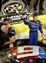CONCORD, NC - MAY 21: Mark Martin, driver of the #6 Viagra Ford, celebrates winning the NASCAR Nextel Cup All-Star Challenge at Lowe's Motor Speedway on May 21, 2005 in Concord, North Carolina. (Photo by Craig Jones/Getty Images)