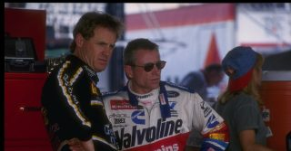 21 Jul 1995: Rusty Wallace (left) and Mark Martin look on during the qualifying heats for the NASCAR Diehard 500 at Talladega Superspeedway in Talladega, Alabama. Mandatory Credit: Jamie Squire /Allsport